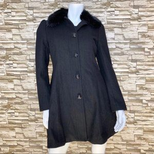 Banana Republic Fur Collard Pea Coat